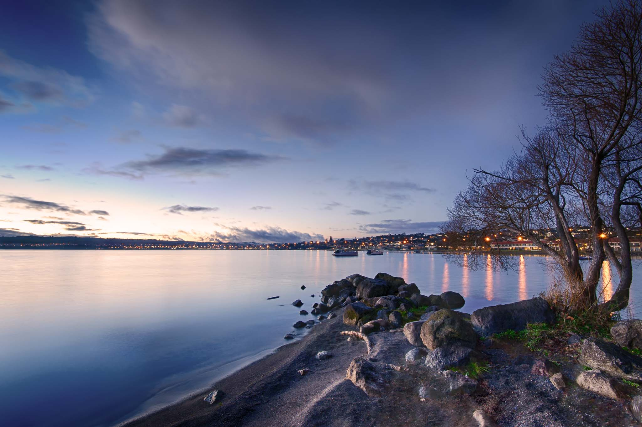 Landscape photo of Two Mile Bay, Lake Taupo during twilight.