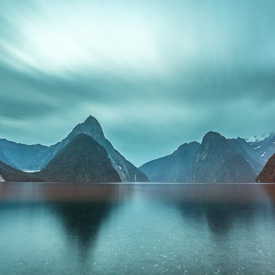 Long exposure landscape photo of Mitre Peak in Milford Sound, Fiordland, New Zealand