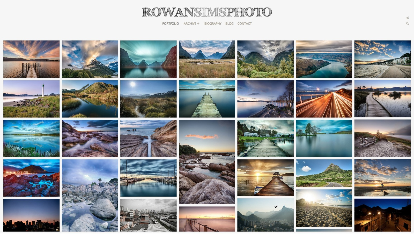 screenshot of Rowan Sims Photography's photoshelter portfolio website