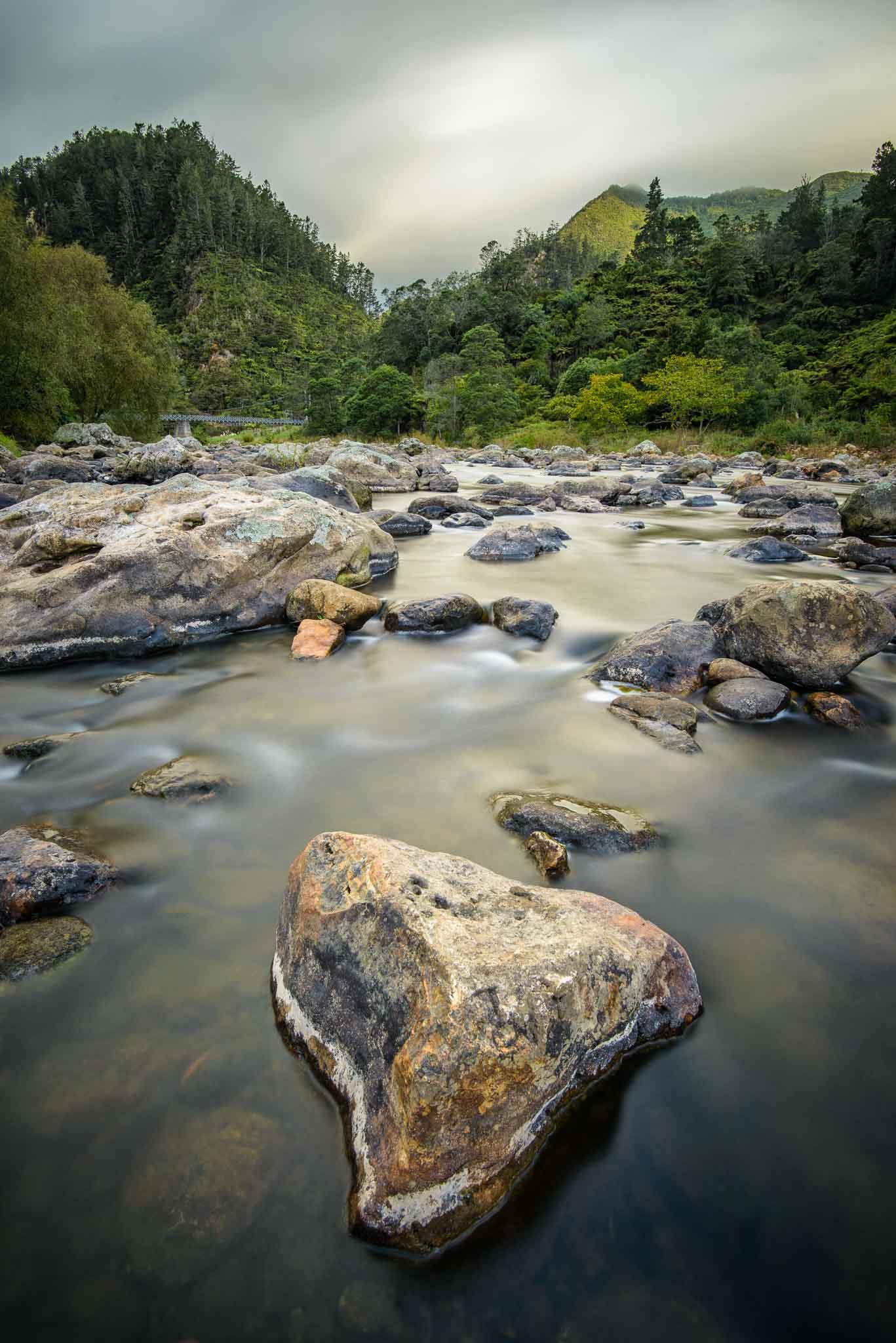Landscape photo Ohinemuri River Karangahake Gorge coromandel New Zealand.