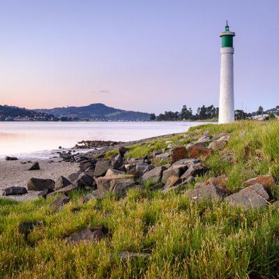 Landscape photo of a small light house on Pauanui Waterways, Coromandel Peninsula, New Zealand