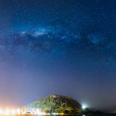 "canvas art print of Mt Maunganui ""The Mount"" under Milky Way and stars"