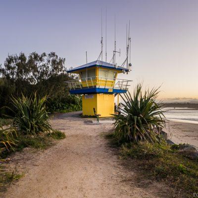 A surf lifeguard tower at Noosa Beach, Sunshine Coast, Queensland, Australia