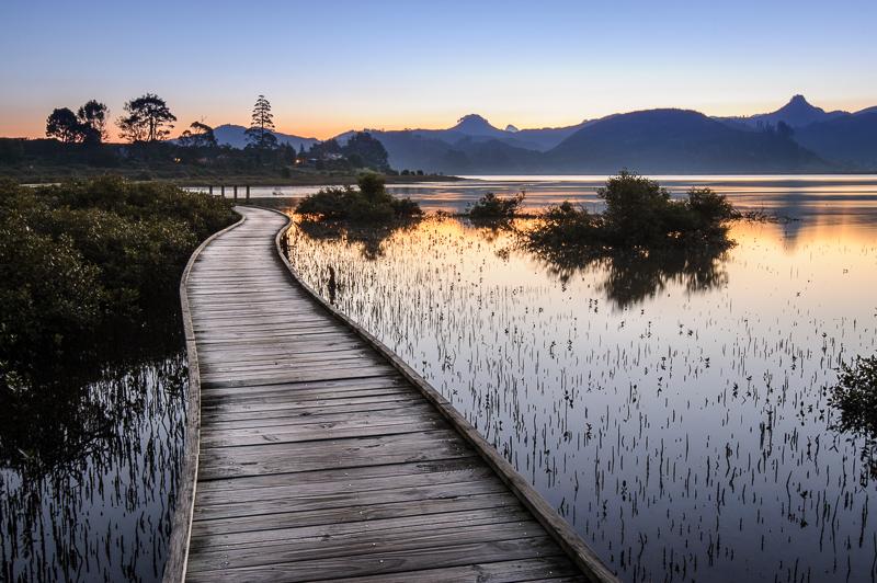 Landscape photo of a boardwalk around Pauanui Waterways, Coromandel Peninsula, New Zealand