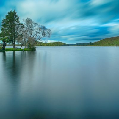 Long exposure of Lake Rotoiti, Rotorua, New Zealand from Amora Lake Resort.