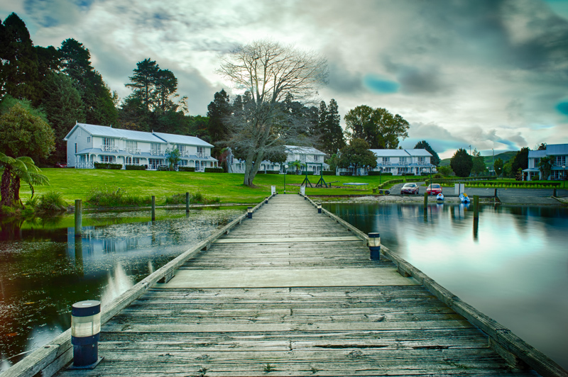 Long exposure photo of Amora Lake Resort, Okawa Bay, Lake Rotoiti, Rotorua. Long exposure lake photography