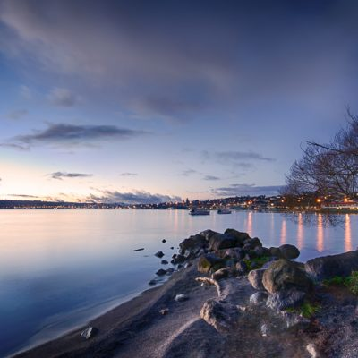 Landscape photo of Two Mile Bay, Lake Taupo New Zealand NZ during twilight.