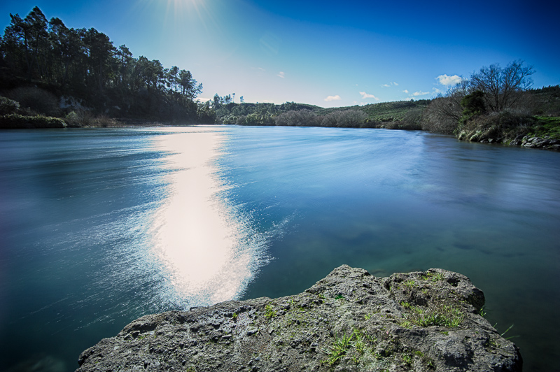 Long exposure photo of the Waikato River in Taupo, New Zealand