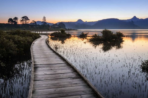 Landscape photo boardwalk Pauanui Waterways Coromandel Peninsula New Zealand
