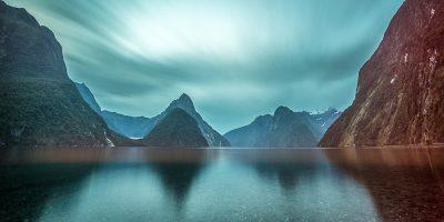 Long exposure landscape photo of Mitre Peak in Milford Sound, Fiordland, New Zealand