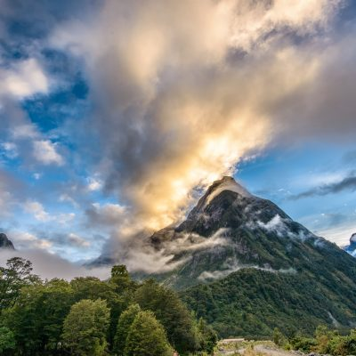 Landscape photo sunrise Milford Sound Fiordland New Zealand
