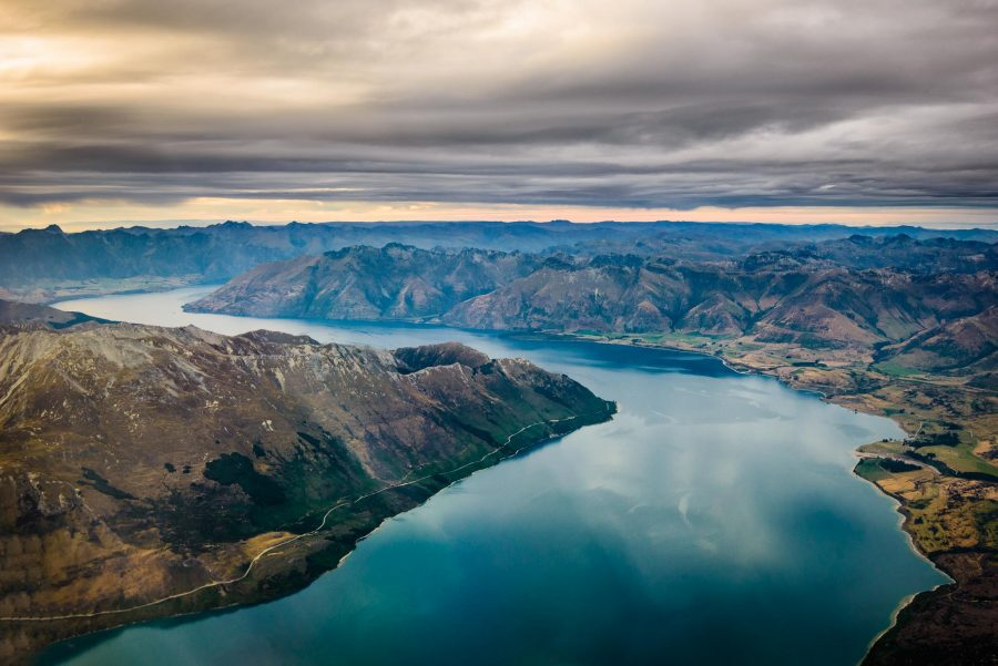 Aerial landscape photo Lake Wakatipu Otago Queenstown NZ
