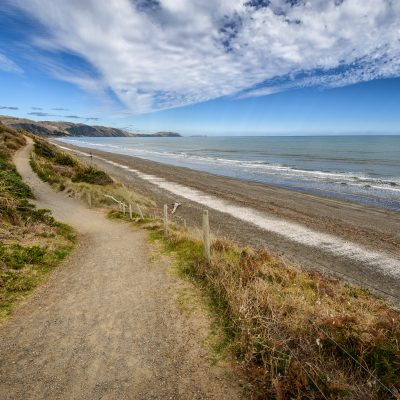 Landscape photo of a walkway along Raumati Beach, Kapiti Coast, New Zealand
