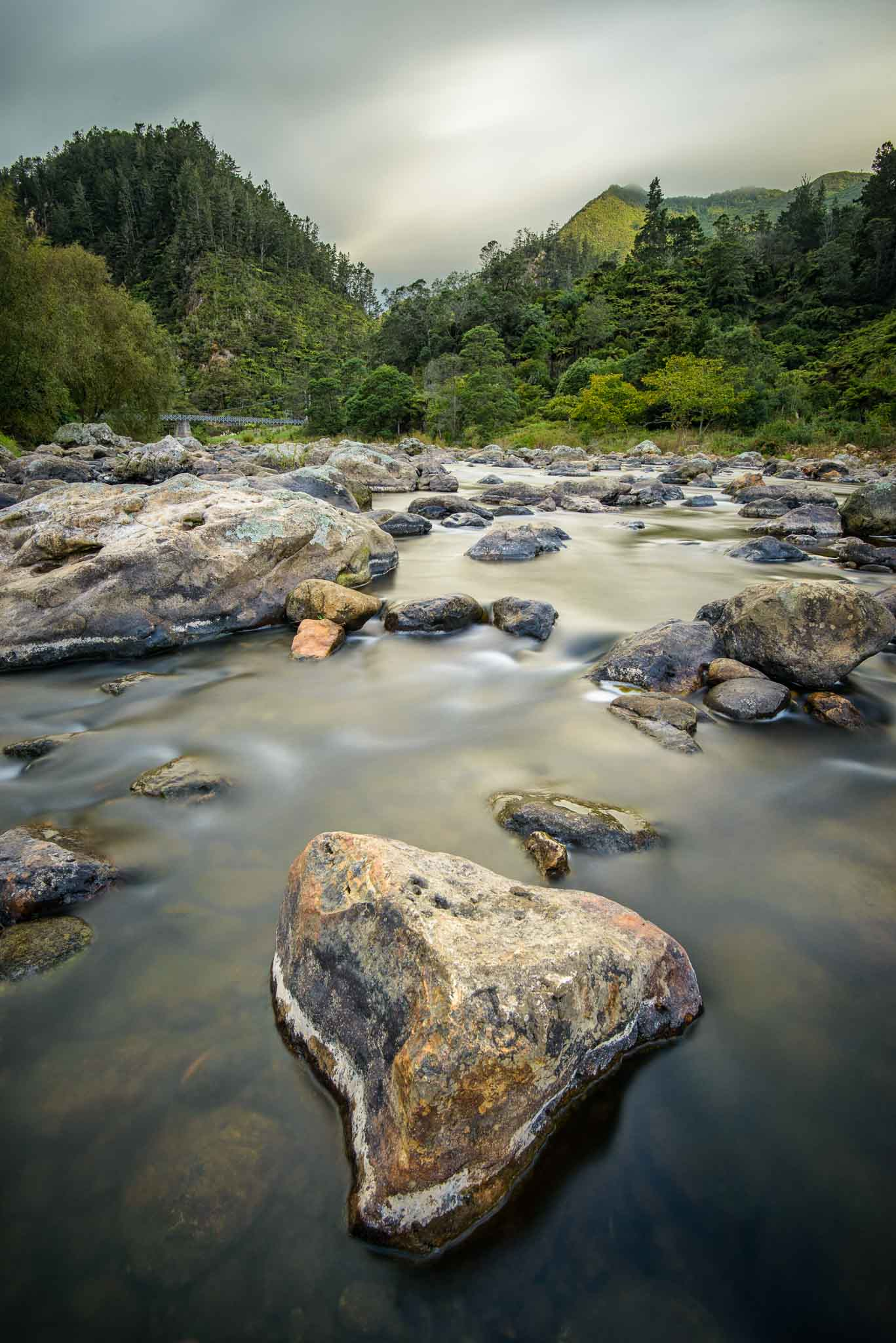 Landscape photo Ohinemuri River Karangahake Gorge coromandel New Zealand.
