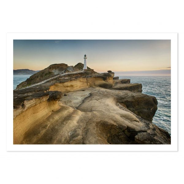 photo print of sunrise at Castlepoint light house, Wairarapa, New Zealand.