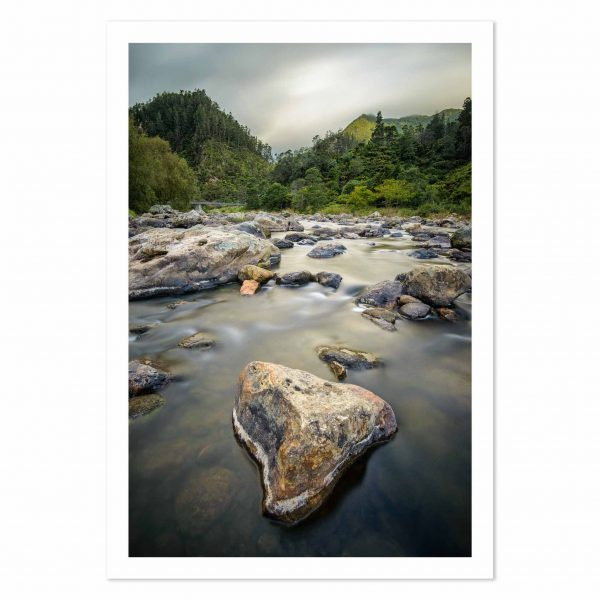 photo print of Ohinemuri River, Karangahake Gorge, Coromandel, New Zealand.