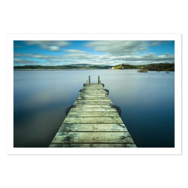 photo print of a jetty in Waipuna Bay, Lake Rotoiti, Rotorua, New Zealand