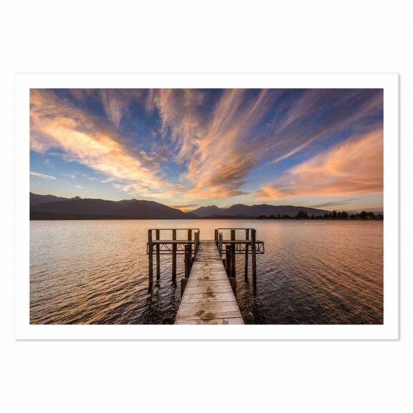Photo print of sunset at Marakura Yacht Club Jetty, Lake Te Anau, Fiordland, New Zealand.