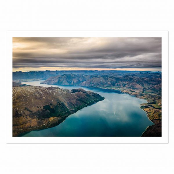 Aerial photo print of Lake Wakatipu, Queenstown, Otago, New Zealand