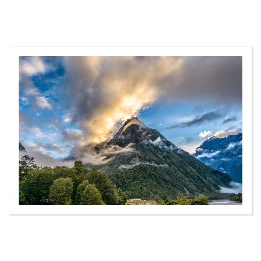 photo print of sunrise in Milford Sound, Fiordland, New Zealand