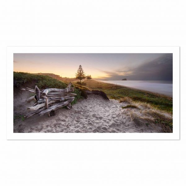 Photo print of sand dunes overlooking Mount Maunganui Beach, BOP, New Zealand.