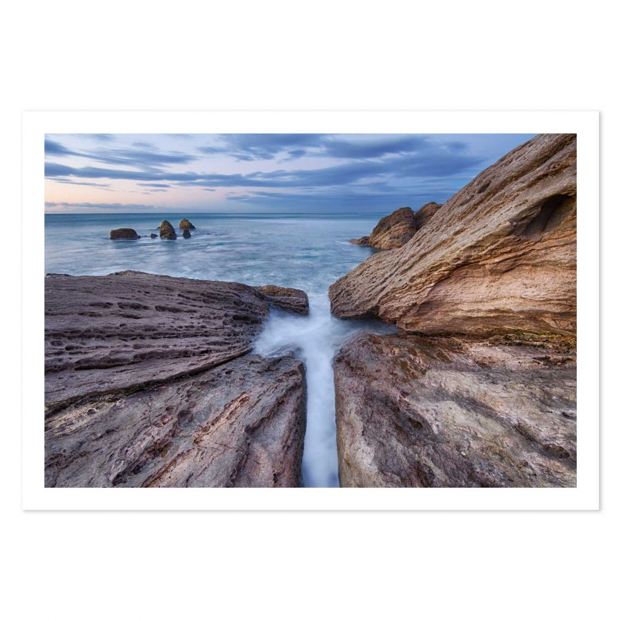Photo print of rocks under Mount Maunganui, BOP, New Zealand.