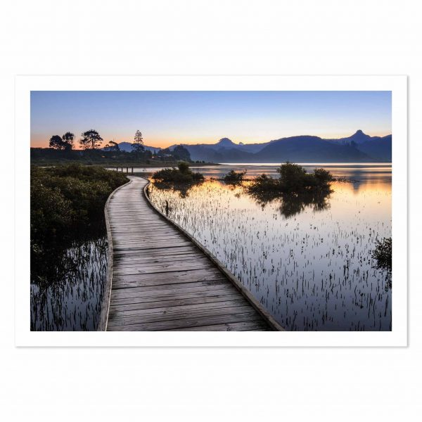 photo print of a boardwalk around Pauanui Waterways, Coromandel Peninsula, New Zealand