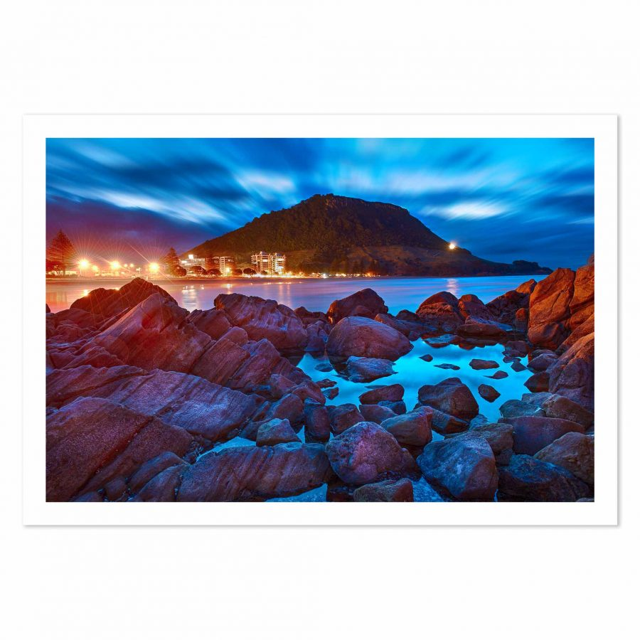 Art print of Mauao at dusk from Moturiki Island, Mount Maunganui, BOP, NZ
