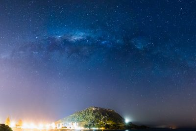 """canvas art print of Mount Maunganui """"The Mount"""" under Milky Way and stars"""