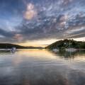 Landscape photo of sunset over boats on Waiheke Island, New Zealand