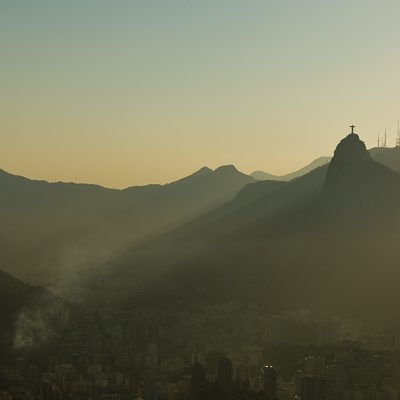Panoramic landscape photo of mountains over Rio de Janeiro, Brazil