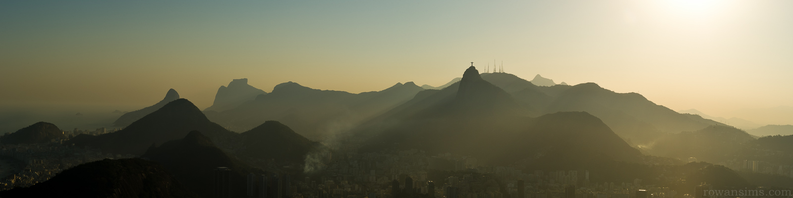 Panoramic landscape photo of mountains over Rio de Janeiro, Brazil
