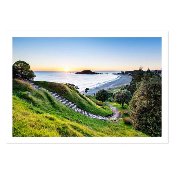 Photo print of sunrise at summit track on Mount Maunganui, Tauranga, New Zealand