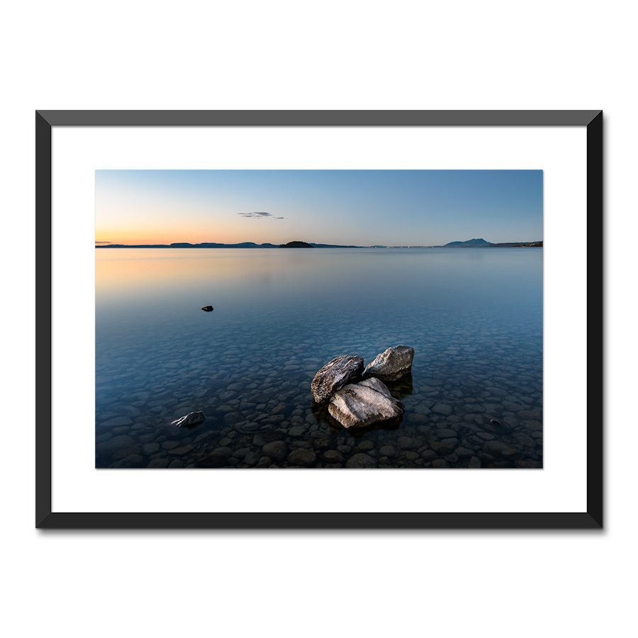mission bay sunset lake taupo nz print
