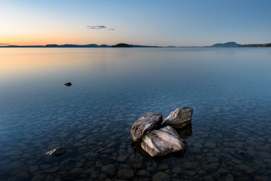Long exposure landscape photo of Mission Bay, Lake Taupo, NZ