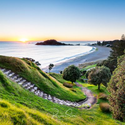 Sunrise over walk summit track on Mount Maunganui New Zealand