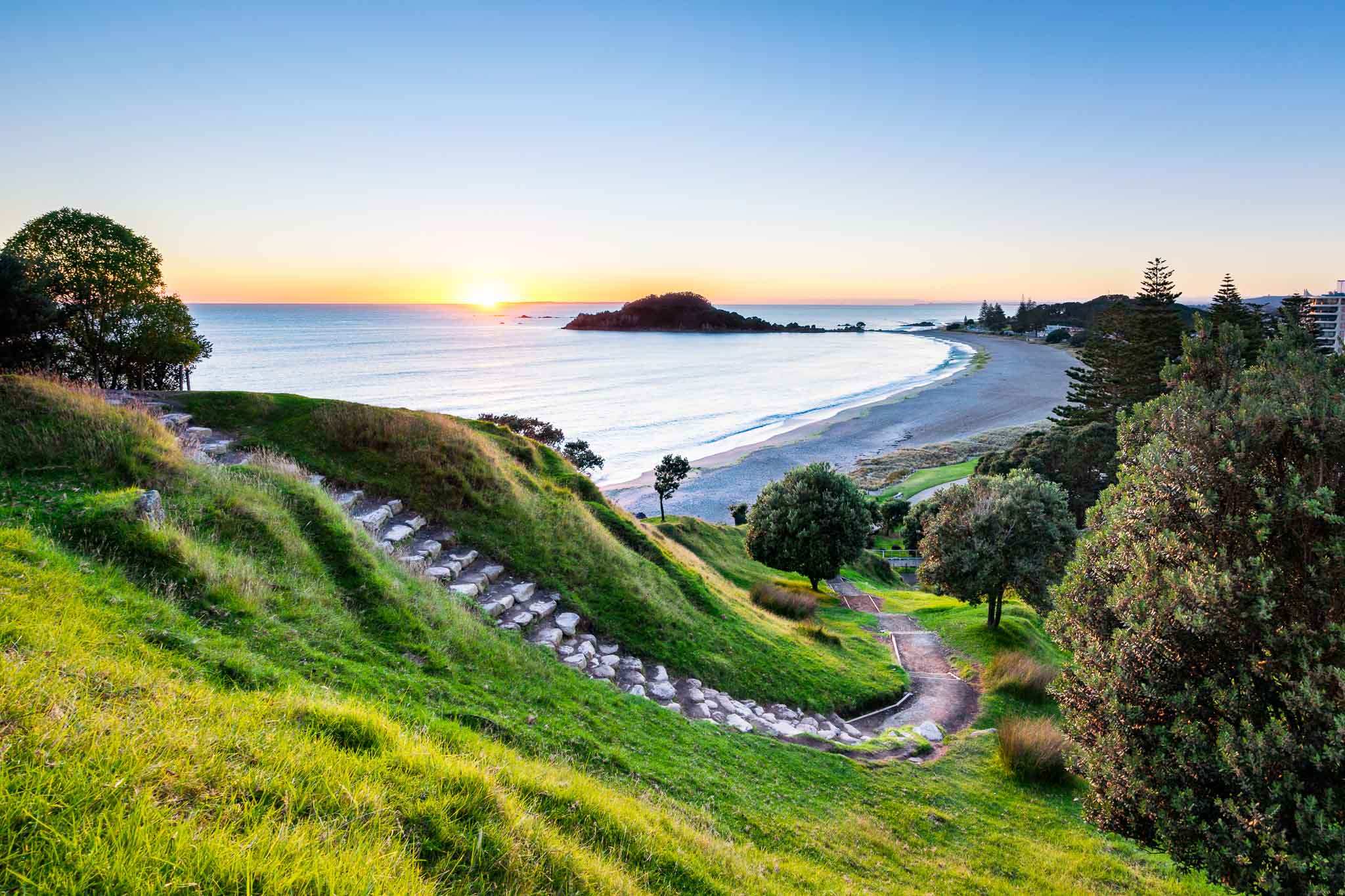 Sunrise at summit track on Mount Maunganui New Zealand