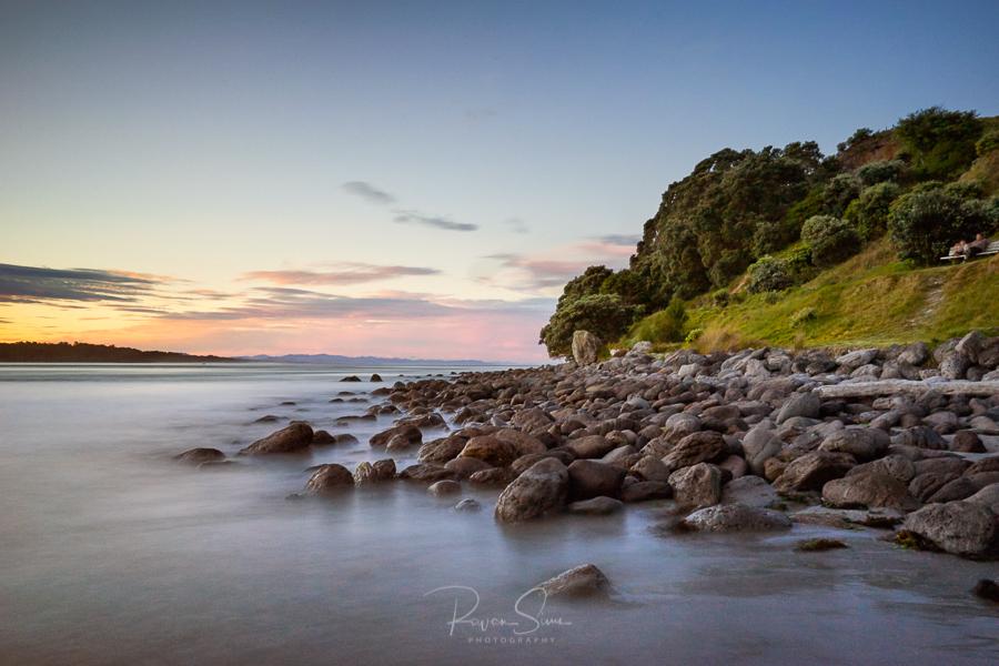 Canvas print of landscape photo of rocks at sunset, Mt Maunganui, New Zealand