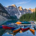 Canoes on Moraine Lake, Banff National Park, Alberta, Canada