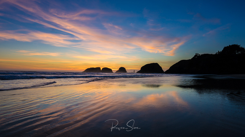 Sunset sea Stacks Cannon Beach Oregon Coast USA