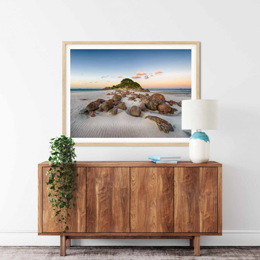 Photo print of Moturiki (Leisure Island) and Main Beach, Mount Maunganui, New Zealand