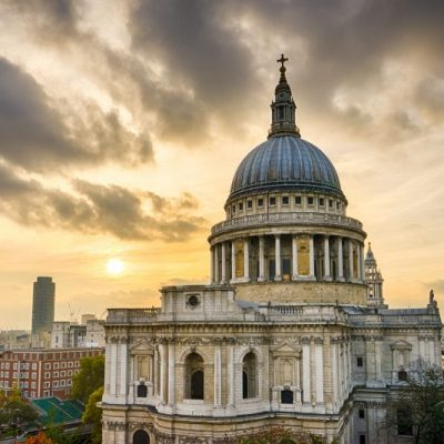 Sunset over St Paul's Cathedral, London, England, United Kingdom