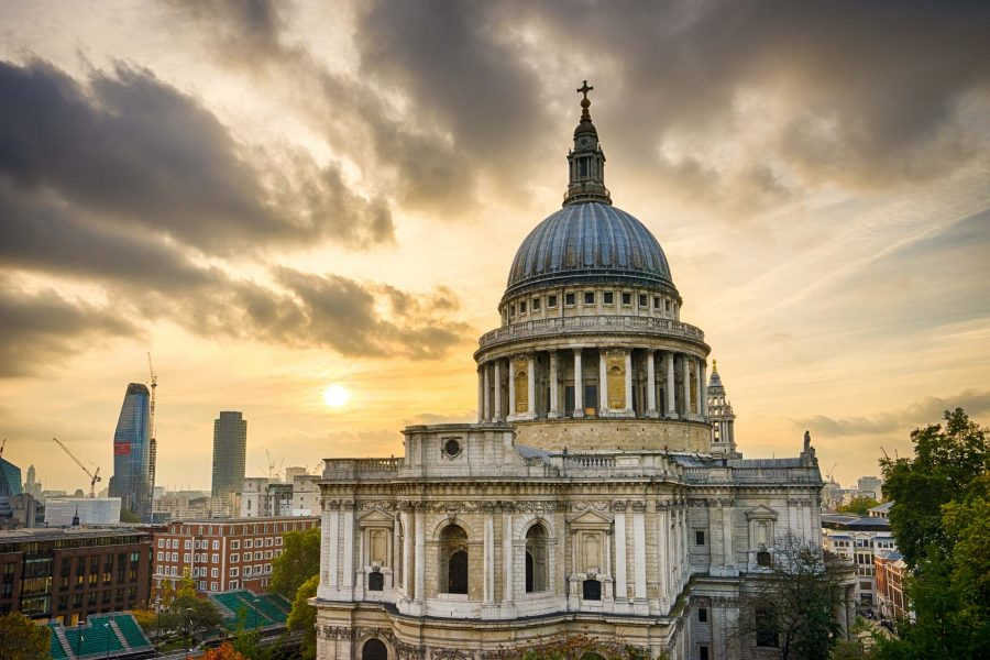Sunset over St Paul's Cathedral, London, England, UK