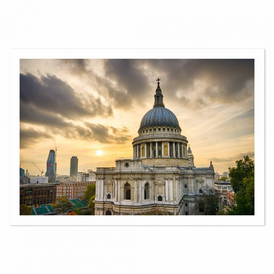 Photo print of sunset over St Paul's Cathedral, London, England, United Kingdom