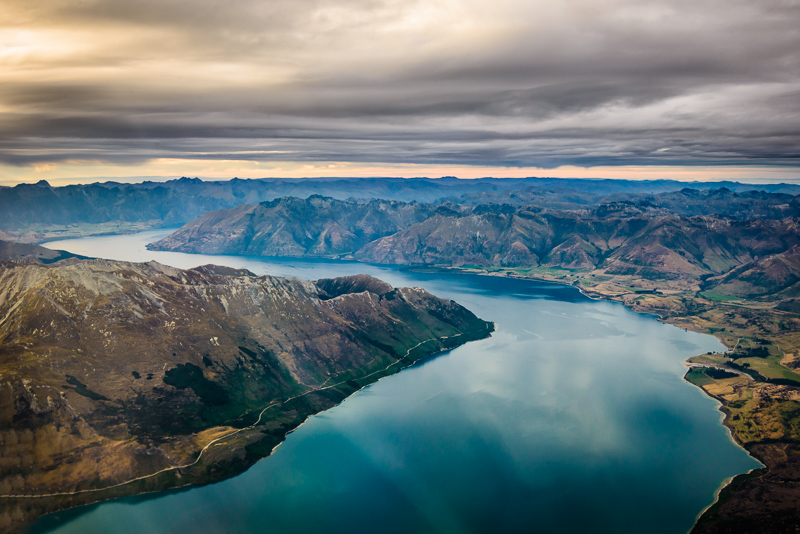 Aerial landscape photo of Lake Wakatipu, Queenstown, New Zealand