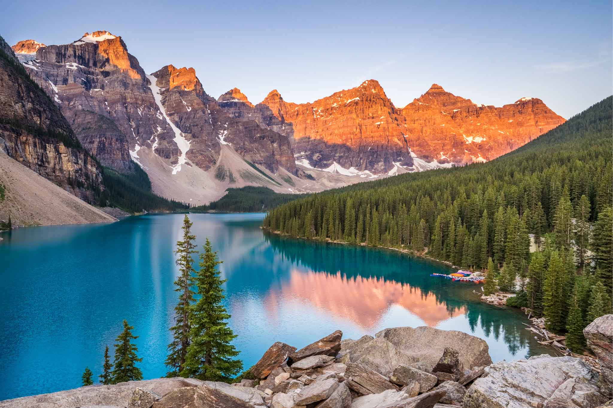 Sunrise over Moraine Lake, Banff National Park, Alberta, Canada