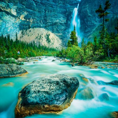 Takakkaw Falls and river in Yoho National Park, British Columbia, Canada