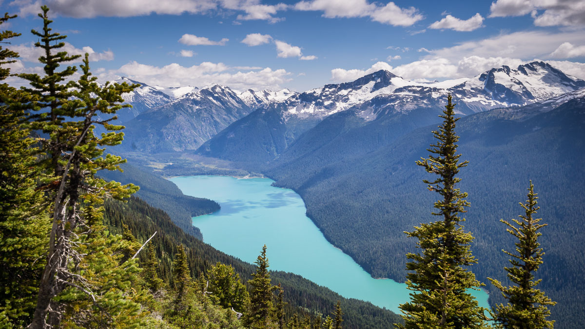 View of Cheakamus Lake from Blackcomb Mountain, Whistler, British Columbia, Canada