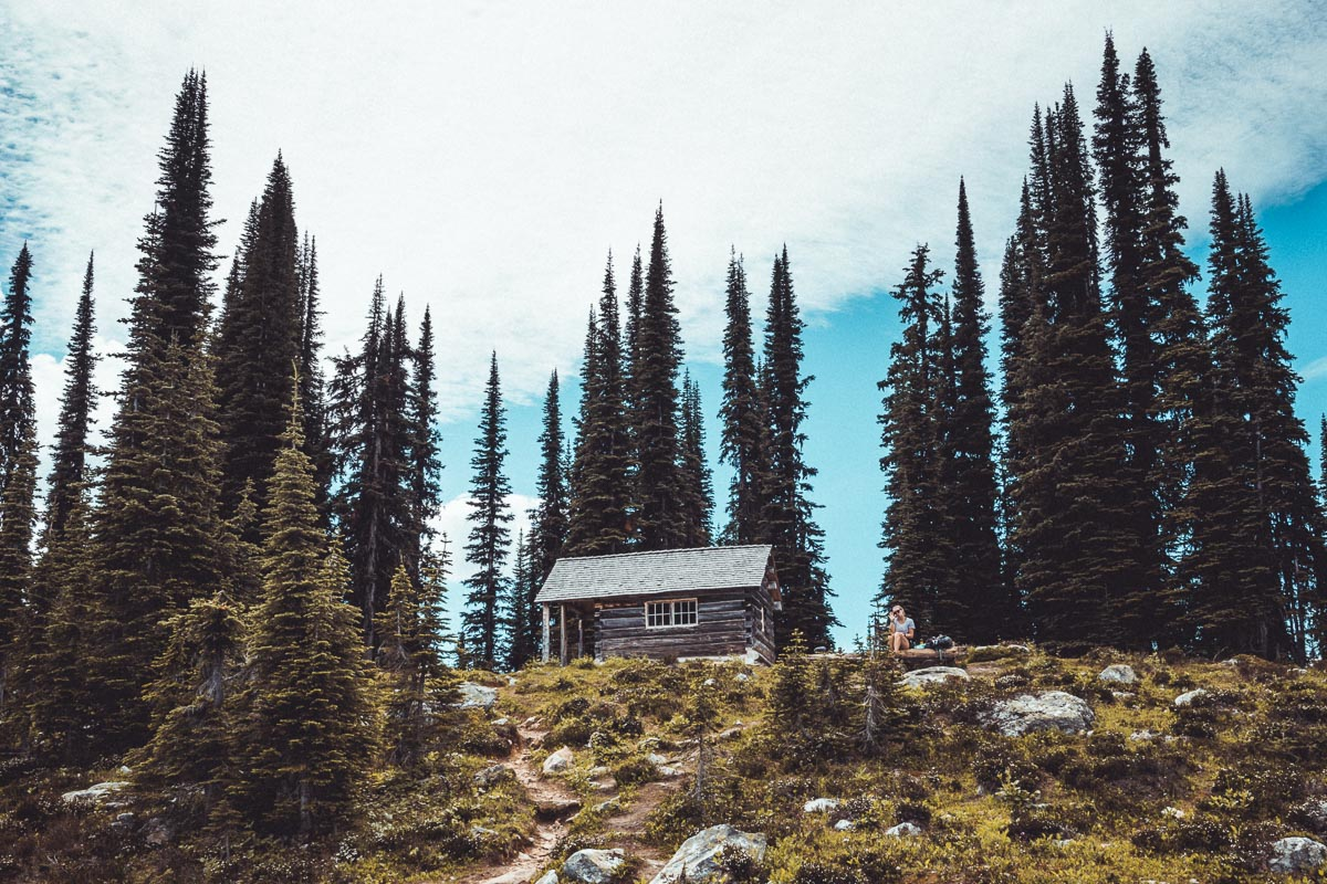 cabin in the mountains Eva Lake Meadows In The Sky hiking trail Revelstoke Mountain Canada