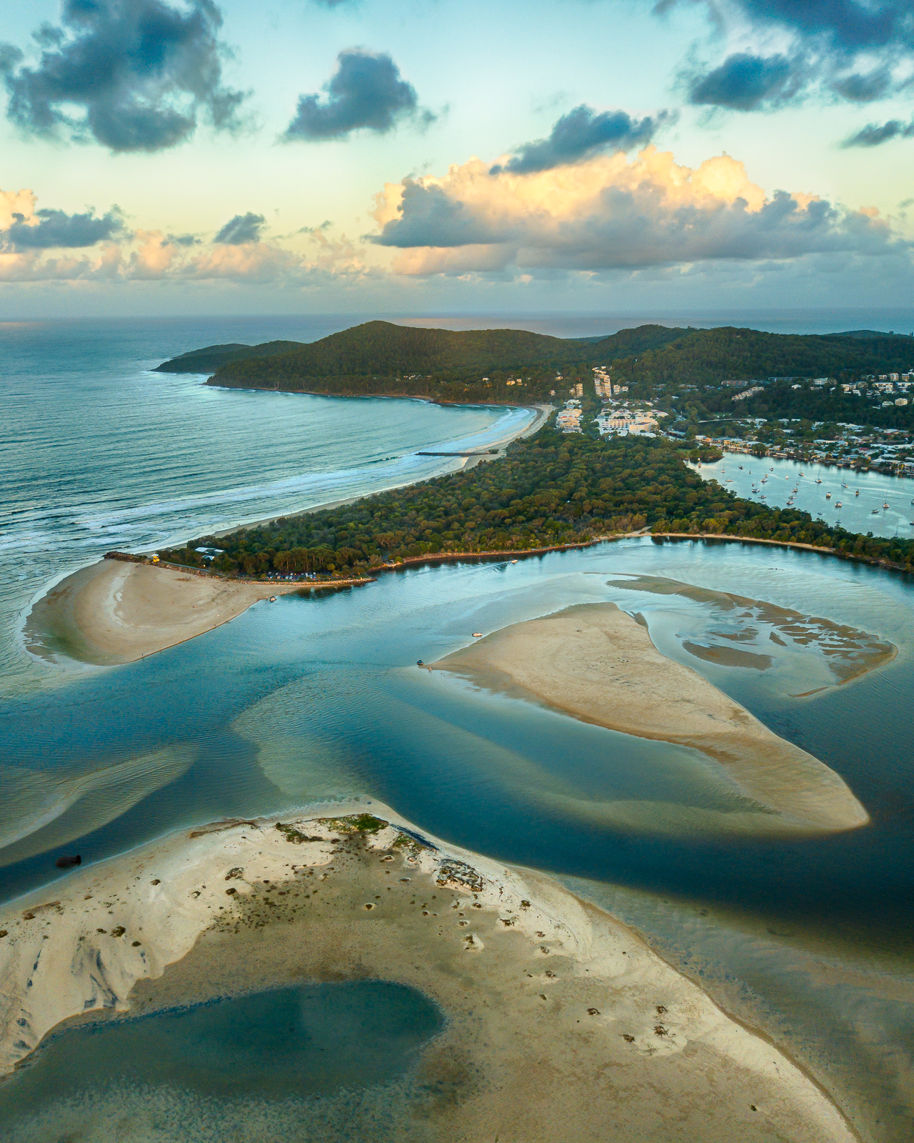 noosa-spit-aerial-sunset-noosa-heads-sunshine-coast-queenslans-australia